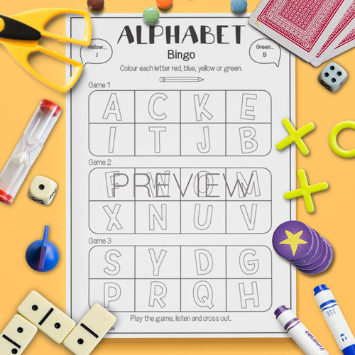 ESL English Kids Alphabet Bingo Game Worksheet
