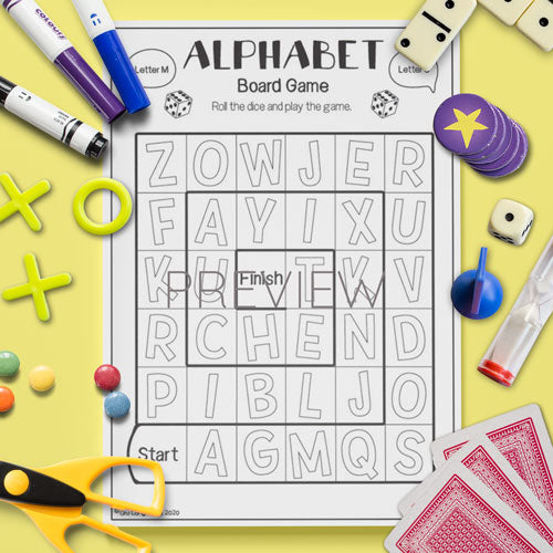 ESL English Kids Alphabet Board Game Activity Worksheet