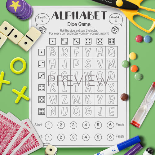 ESL English Kids Alphabet Dice Game Activity Worksheet