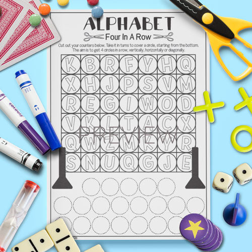 ESL English Kids Alphabet Four In A Row Game Worksheet