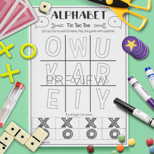 ESL English Kids Alphabet Tic Tac Toe Game Worksheet