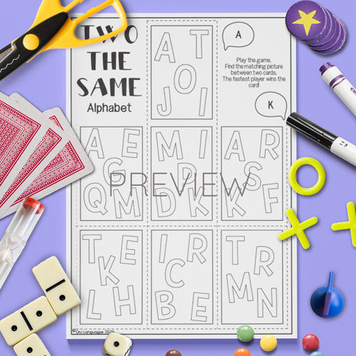 ESL English Kids Alphabet Two The Same Game Worksheet