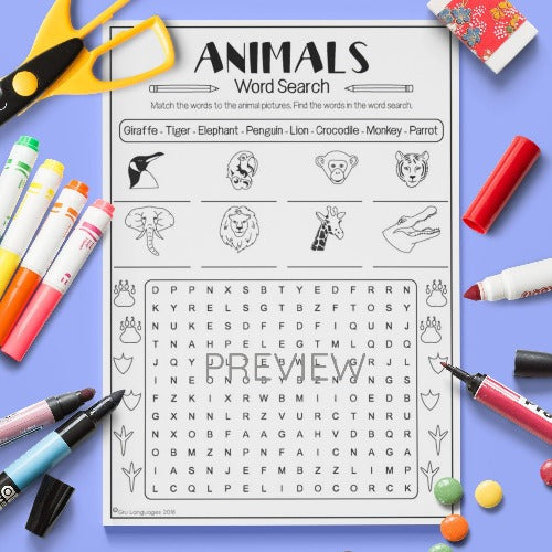 ESL English Kids Wild Animal Word Search Worksheet