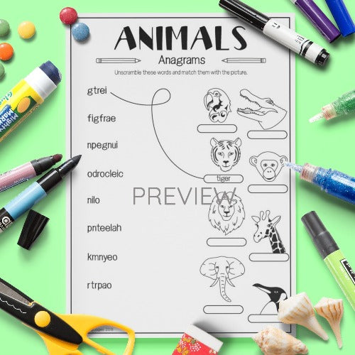 ESL English Kids Wild Animal Anagrams Worksheet