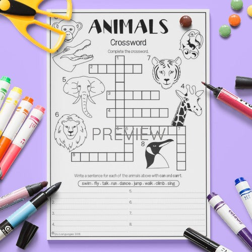 ESL English Kids Wild Animal Crossword Worksheet