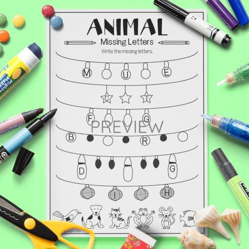 ESL English Kids Animal Missing Letters Worksheet
