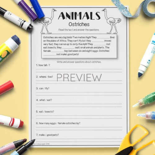 ESL English Kids Wild Animal Ostriches Reading and Writing Worksheet