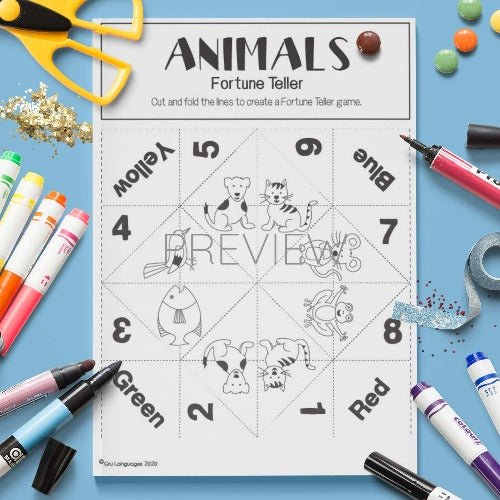 ESL English Animal Fortune Teller Craft Activity Worksheet