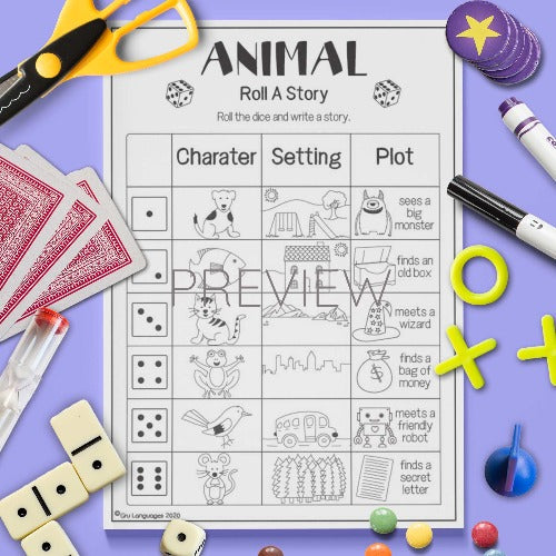 ESL English Animal Roll A Story Game Worksheet