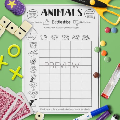 ESL English Kids Wild Animal Battleships Game Worksheet