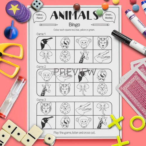 ESL English Kids Wild Animal Bingo Game Worksheet