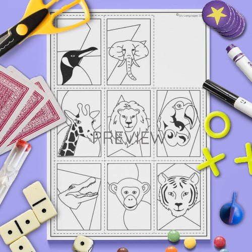 ESL English Kids Wild Animal Card Game Worksheet