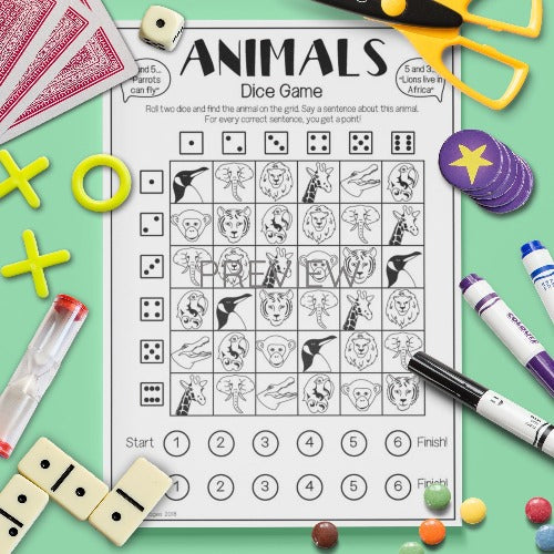 ESL English Kids Wild Animal Dice Game Worksheet