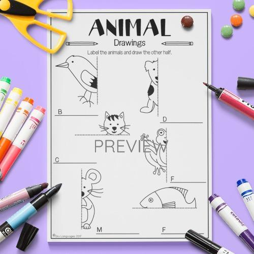 ESL English Kids Animal Draw The Other Half Activity Worksheet