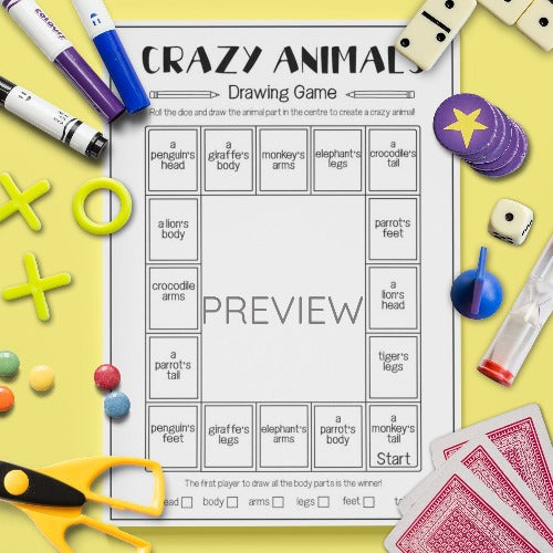 ESL English Kids Wild Animal Drawing Board Game Worksheet