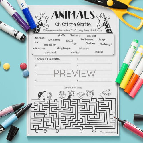 ESL English Kids Wild Animal Sentence Building Worksheet