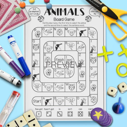 ESL English Kids Wild Animal Sentence Board Game Worksheet
