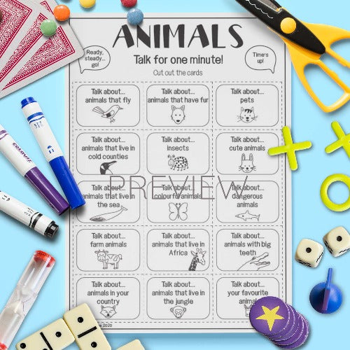 ESL English Kids Animal Talk For A Minute Cards
