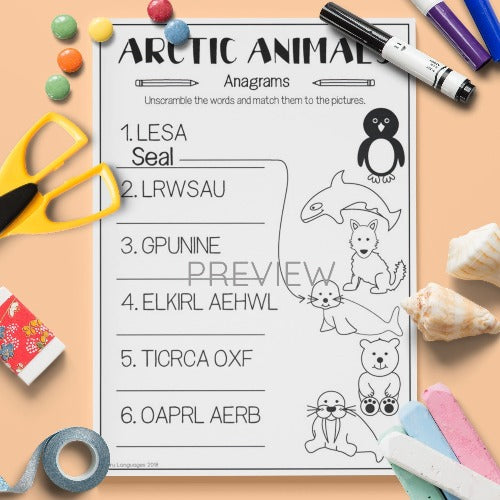 ESL English Arctic Animals Anagrams Activity Worksheet