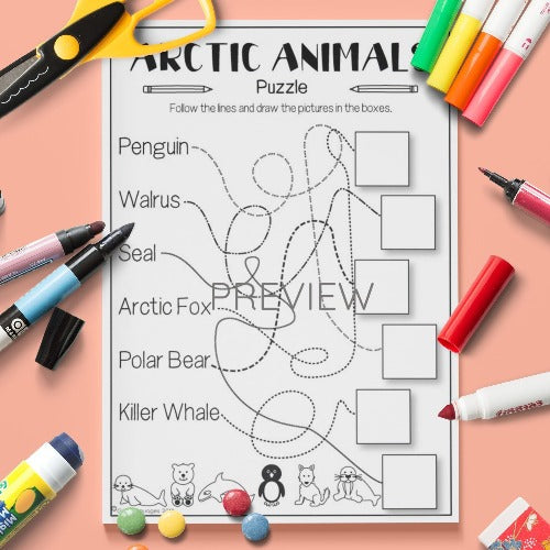 ESL English Arctic Animals Puzzle Activity Worksheet