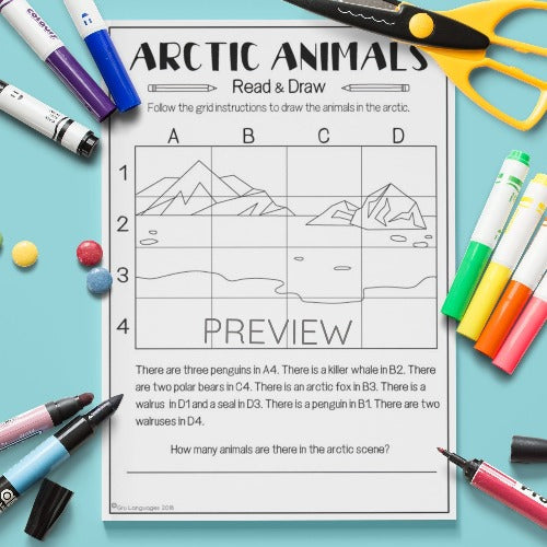 ESL English Arctic Animals Read and Draw Activity Worksheet
