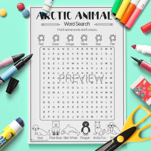 ESL English Arctic Animals Word Search Activity Worksheet