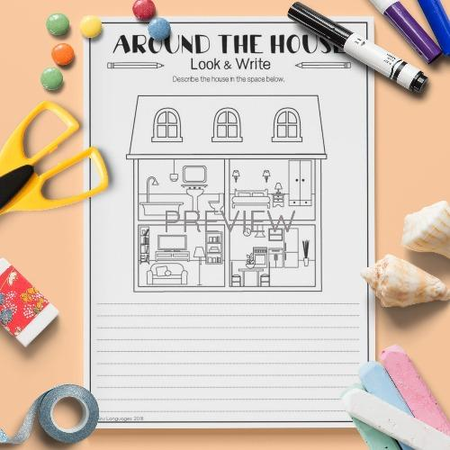 ESL English Kids Around The House Look and Write Activity Worksheet