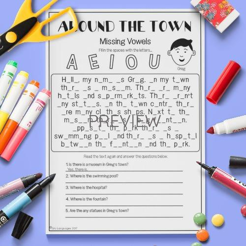ESL English Kids Around the Town Missing Vowels Activity Worksheet
