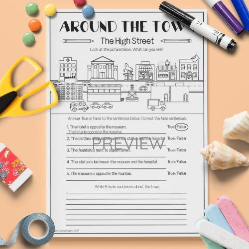 ESL English Kids Around the Town The High Street Worksheet