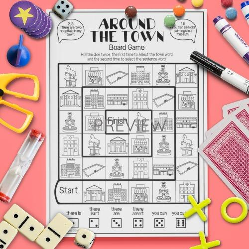 ESL English Kids Around The Town Board Game Worksheet