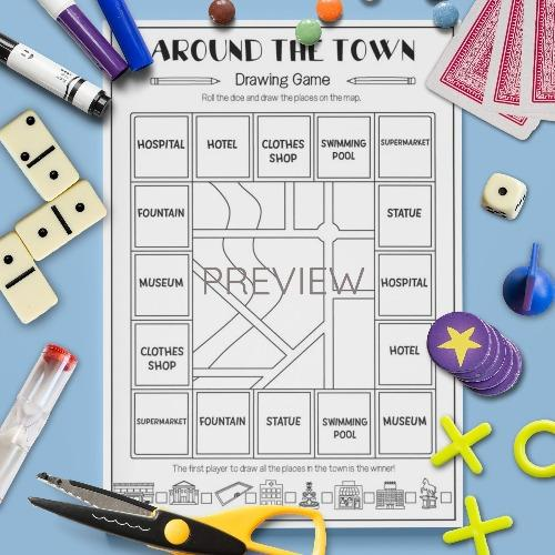 ESL English Kids Around The Town Drawing Game Worksheet