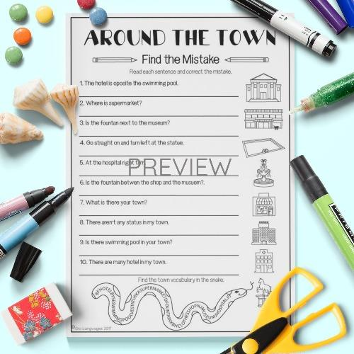 ESL English Kids Around the Town Find The Mistake Worksheet
