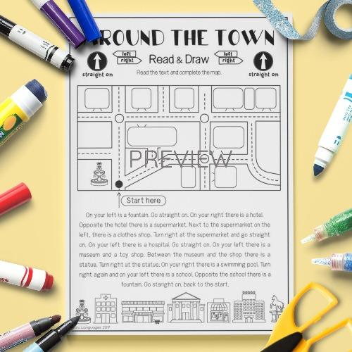 ESL English Kids Around the Town Read and Draw Activity Worksheet