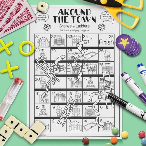 ESL English Kids Around The Town Snakes and Ladders Game Worksheet
