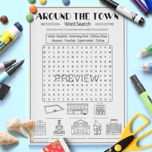 ESL English Kids Around the Town Word Search Worksheet