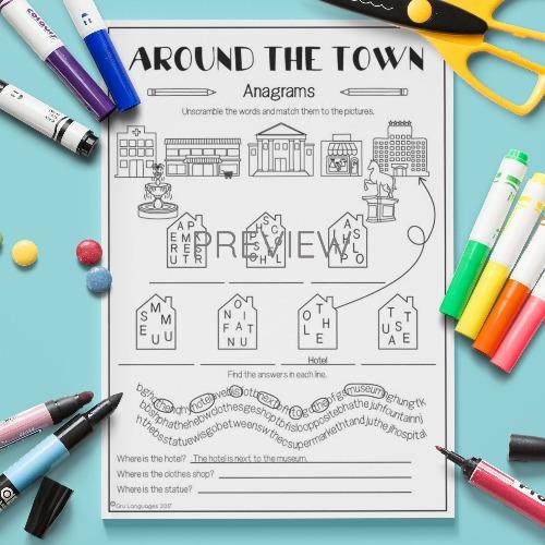 ESL English Kids Around the Town Anagrams Worksheet