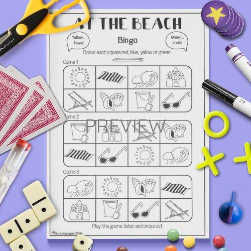 ESL English Beach Bingo Game Activity Worksheet
