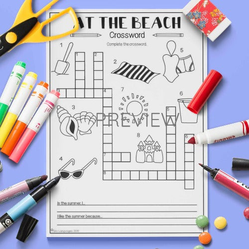 ESL English Kids At The Beach Crossword Worksheet