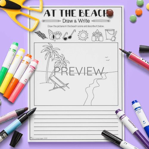ESL English Kids At The Beach Draw and Write Activity Worksheet