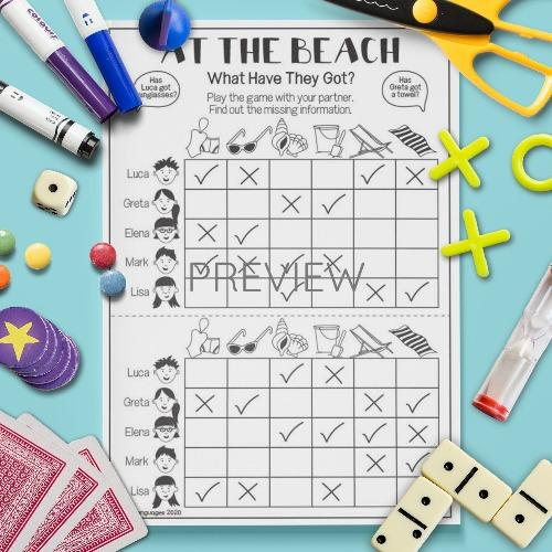 ESL English Beach Speaking Game Activity Worksheet