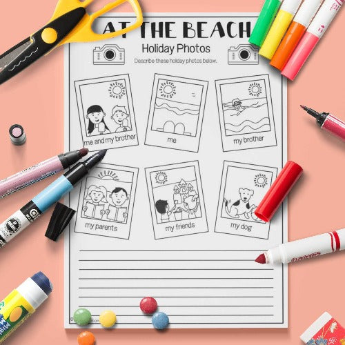 ESL English Kids At The Beach Holiday Photos Activity Worksheet
