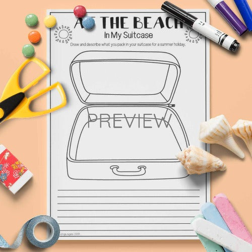 ESL English Kids At The Beach Suitcase Activity Worksheet
