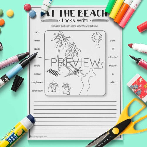 ESL English Kids At The Beach Look and Write Activity Worksheet