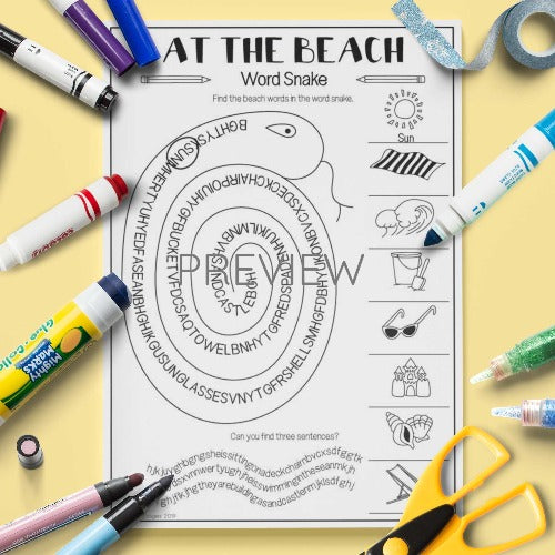 ESL English Kids At The Beach Vocabulary Activity Worksheet