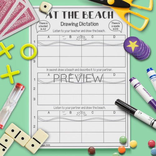 ESL English Beach Drawing Dictation Activity Worksheet