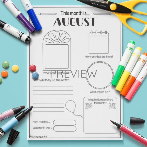ESL English The Month Of August Activity Worksheet