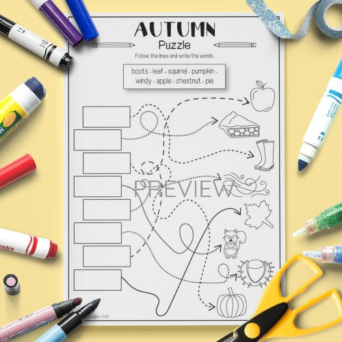 ESL English Kids Autumn Puzzle Worksheet