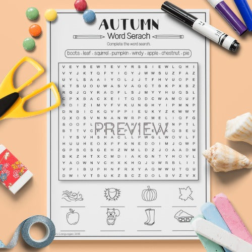 ESL English Kids Autumn Word Search Worksheet