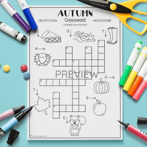 ESL English Kids Autumn Crossword Worksheet