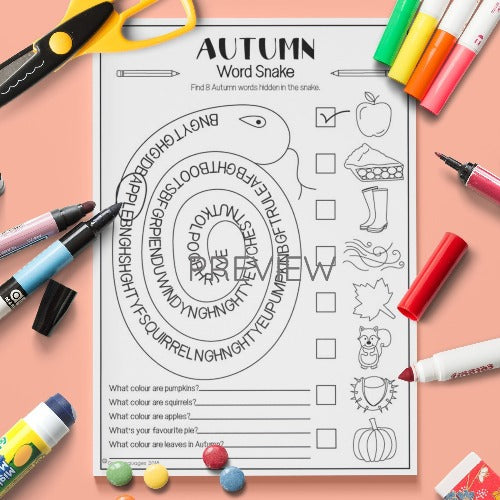 ESL English Kids Autumn Word Snake Worksheet